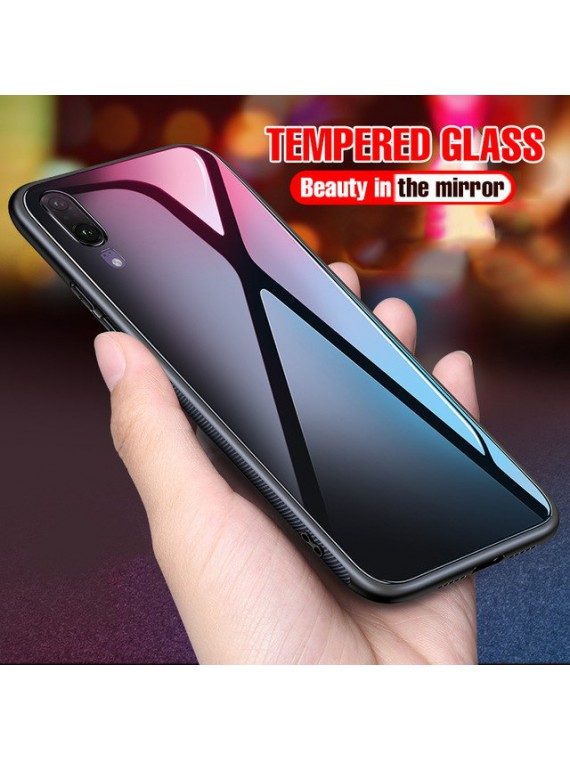 Huawei Luxury Glass Full Shockproof Back Phone Cover With TPU Silicone Soft Edges