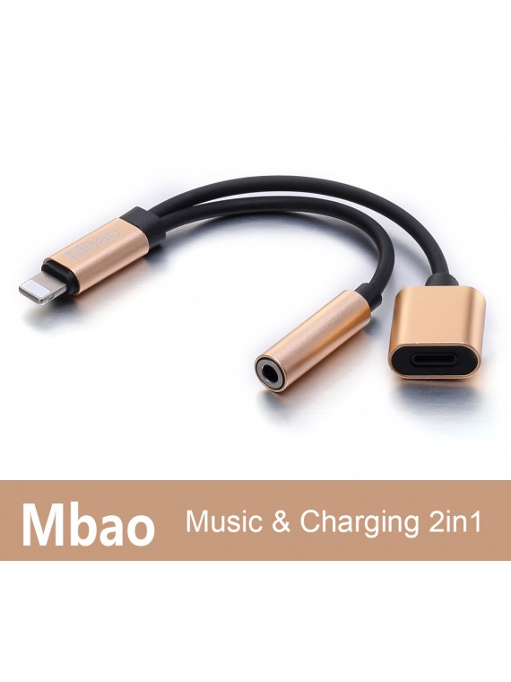 2 In 1 USB Type C / iPhone port to 3.5mm Female Audio Jack Headphone Cable Charging Adapter For Letv 2pro Letv Max 2 Xiaomi 6 Huawei