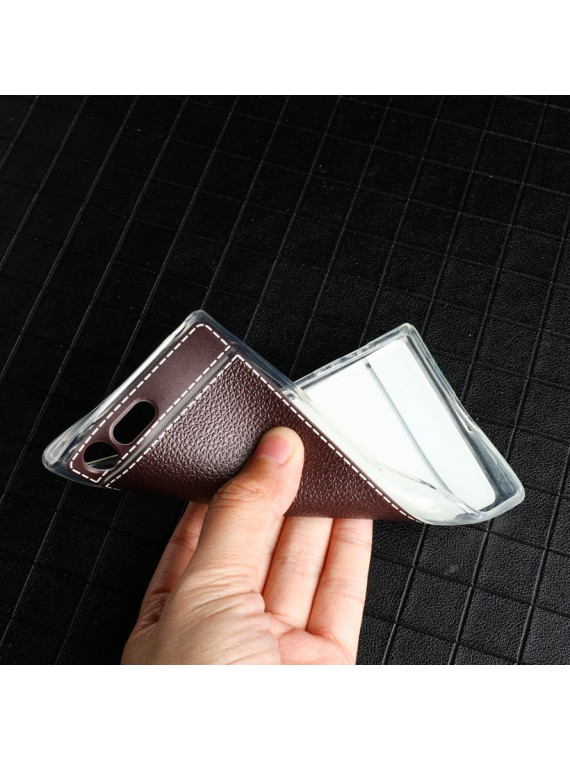 Sony Xperia Soft TPU Litchi Phone Bags Back Cover
